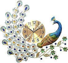 "25"" Crystal Leaf Peacock Wall Clock, With"