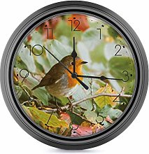 25 CM Indoor/Outdoor Round Wall Clocks, Silent Non