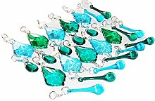 25 Peacock Green & Teal Blue Turquoise Chandelier
