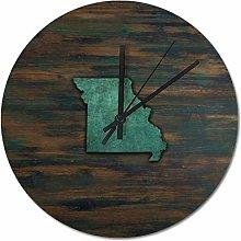25 x 25 CM Wall Clock Missouri Shape Teal Wooden