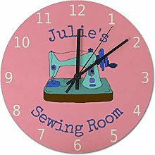 25 x 25 CM Wall Clock Personalize Your Name Sewing