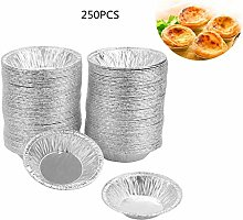 250Pcs Silver Color Round Shaped Egg Tart Mold,
