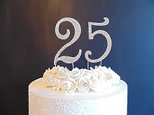 25th Cake Decoration. Large 12cm Silver Numbers