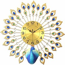 "26"" Crystal Leaf Peacock Wall Clock, With"