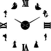 27 Inch Princess DIY Large Wall Clock Fairytale