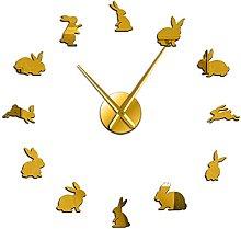 27 Inch Rabbits Frameless DIY Large Wall Clock