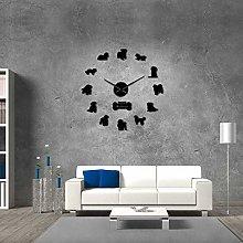 27 Inch Wall Clock Modern Maltese Dog Silhouette