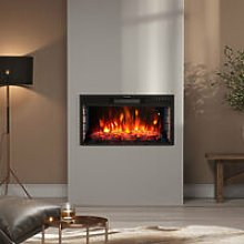 28 inch Electric LED Fireplace Wall Inset Mounted