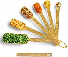 2lbDepot Gold Measuring Spoons - Set of 7 Includes