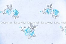 2m Shabby Chic Blue Floral Sticky Back Plastic