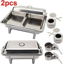 2pack Buffet Food Warmer Stainless Steel Double