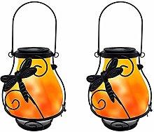 2Pack Metal Solar Lantern Outdoor,KINGCOO Vintage