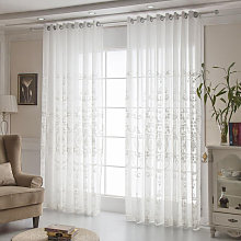 2pcs 216 * 214cm White Floral Embroidery Net