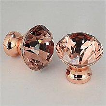 2PCS 30mm Diamond Crystal Glass Door Knobs