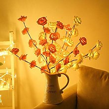 2pcs 75cm Led Rose Branches Artificial White&Pink