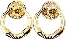 2Pcs Antique Gold Ring Knob Vintage Furniture