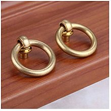 2Pcs Antique Pure Copper Furniture Simple Ring