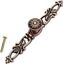 2pcs Brass Door Handle Knobs Retro Antique Bronze