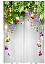 2PCS Digital Printed Christmas Curtains,Polyester