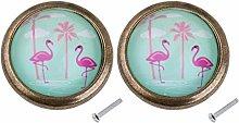 2pcs Flamingo Design Door Drawer Knob Dresser