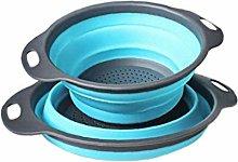 2pcs Foldable Silicone Vegetable Washing Basket