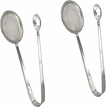 2pcs Food Tongs Stainless Steel Colander Filter
