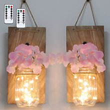 2PCS Glass Mason Jars LED Fairy Lights Wall