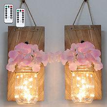 2PCS Glass Mason Jars LED Fairy Lights Wall
