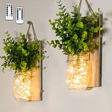 2PCS Hanging Glass Mason Jars LED Fairy Lights