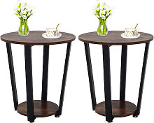 2pcs Industrial Round Sofa Side Table Small Coffee