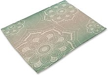 (2pcs)linen Table Mat With Bohemian Mandala