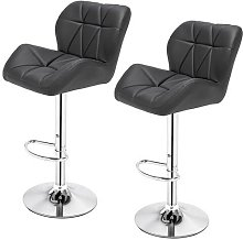 2pcs Oblique Checks Bar Stool /Kitchen Round Back Cushion Bar Stool-Dark Grey