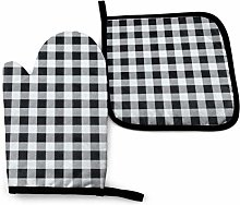 2PCS Oven Gloves and Pot Holders Sets,Black and