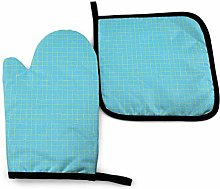 2PCS Oven Gloves and Pot Holders Sets,Blue Squares