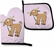 2PCS Oven Gloves and Pot Holders Sets,Brown Goat