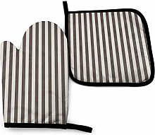 2PCS Oven Gloves and Pot Holders Sets,Brown Stripe