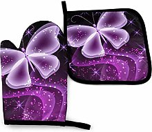 2PCS Oven Gloves and Pot Holders Sets,Cute Purple