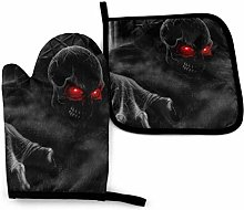 2PCS Oven Gloves and Pot Holders Sets,Dark Ghost