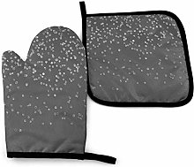 2PCS Oven Gloves and Pot Holders Sets,Gray and