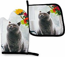 2PCS Oven Gloves and Pot Holders Sets,Gray Cat