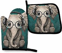 2PCS Oven Gloves and Pot Holders Sets,Gray
