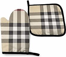 2PCS Oven Gloves and Pot Holders Sets,Gray Plaid