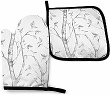 2PCS Oven Gloves and Pot Holders Sets,Gray Woods