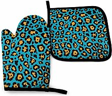 2PCS Oven Gloves and Pot Holders Sets,Leopard