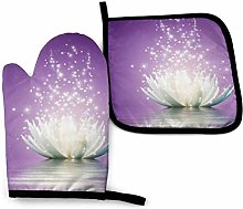2PCS Oven Gloves and Pot Holders Sets,Lotus Flower