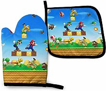 2PCS Oven Gloves and Pot Holders Sets,Mario Heat