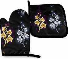 2PCS Oven Gloves and Pot Holders Sets,Noble Gold