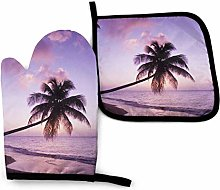 2PCS Oven Gloves and Pot Holders Sets,Purple
