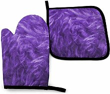 2PCS Oven Gloves and Pot Holders Sets,Purple Heat