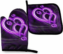 2PCS Oven Gloves and Pot Holders Sets,Purple Love